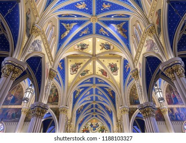SOUTH BEND, INDIANA/USA - AUGUST 8,2018: Ceiling inside the Basilica of the Sacred Heart at 101 Basilica Drive on the campus of the University of Notre Dame in South Bend