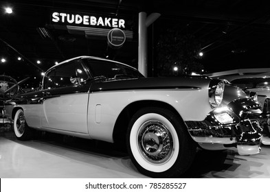 SOUTH BEND, IN - JANUARY 27, 2017: A 1955 Studebaker President Speedster on display at the Studebaker National Museum. One of only 2,215 Speedsters manufactured in 1955.