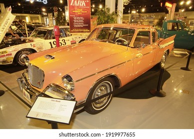SOUTH BEND, UNITED STATES - Jan 30, 2009: A vintage Studebaker Hawk automobile on display at the Studebaker Museum at South Bend, Indiana