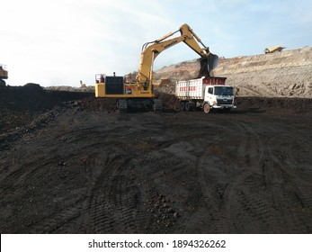 South Borneo - Indonesia. September 9, 2020. mining activities, coal getting, reclamation, hauling and loading at a coal mining company in PT. Kalimantan Prima Persada.