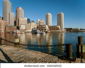 South Boston, Massachusetts, USA - April 21, 2016: Early morning view of Rowes Wharf seen from Fan Pier