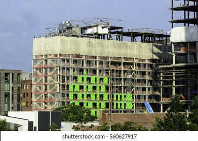 South Boston, Massachusetts, USA - June 23, 2016: Yotel (center) and One Seaport Square (right) projects under construction in South Boston