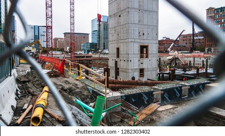 South Boston, Massachusetts, USA - October 1, 2015: Fenced off construction site at One Seaport Square in South Boston's Seaport District