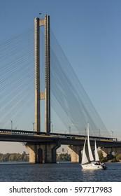 """South"" bridge in Kyiv on the Dnipro River. Ukraine"