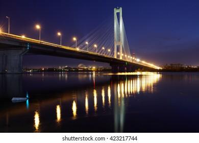 The South bridge at night, Kiev, Ukraine