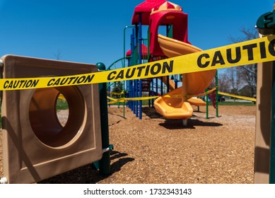 SOUTH BURLINGTON, VT, USA. May 14, 2020. A closed playground in South Burlington, VT has yellow caution tape around it. The playground was closed due to Covid-19.