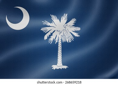 South Carolina flag on the fabric texture background