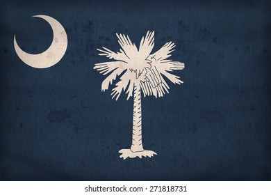 South Carolina flag on fabric texture,retro vintage style