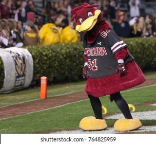 South Carolina Mascot on the field of the Clemson Tiger Vs. South Carolina Gamecocks football game on November 25th 2017 at the William-Brice Stadium in Columbia, South Carolina -USA