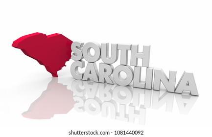 South Carolina SC Red State Map Word 3d Illustration