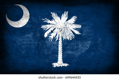 South Carolina State flag, USA, with grunge metal texture