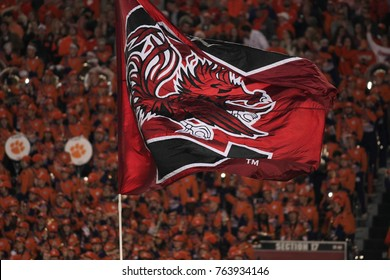 South Carolina Team flag at the game of Clemson Tiger Vs. South Carolina Gamecocks at the William - Brian Stadium on November 25th 2017 in South Carolina - USA