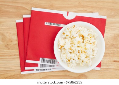 South Carolina, USA Aug 2017. Illustrative editorial image of Netflix red mailing envelopes with popcorn. Netflix is very popular in the USA