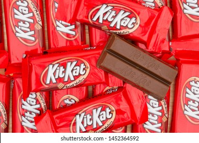 South Carolina, USA November 2016. Illustrative editorial of  KitKat chocolate candy bar Background. KitKat chocolate bars are a favorite snack food in the USA and are used in a lot of dessert recipes