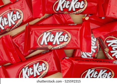 South Carolina, USA November 2016. Editorial image of  KitKat chocolate candy bar Background. KitKat chocolate bars are a favorite snack food in the USA Illustrative Editorial