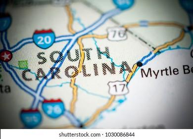 South Carolina. USA on a map.