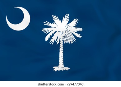 South Carolina waving flag. South Carolina state flag background texture. Raster copy.