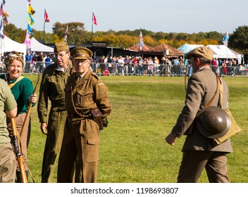 South Cerney Airfield, Gloucestershire, UK Sept 2018. Vintage fair. Captain Mannering lookalike at vintage WW2 event on sunny day.