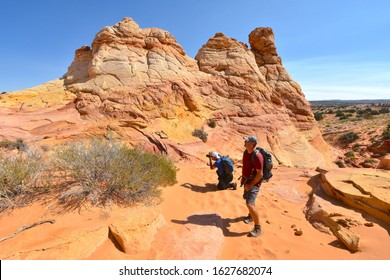 South Coyote, Arizona USA - October 8, 2019: Famous , and Difficult South Coyote Buttes Hiking Trail in Arizona Desert