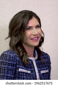 """South Dakota Governor Kristi Noem is interviewed for local television show """"Be Courageous"""" hosted by Tony Barton and Terry Rogers on the Watch Kansas network"""