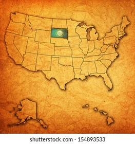 south dakota on old vintage map of usa with state borders