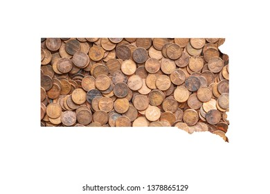 South Dakota State Map and Money Concept, Piles of Coins, Pennies
