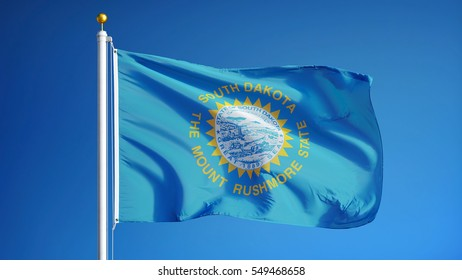 South Dakota (U.S. state) flag waving against clear blue sky, close up, isolated with clipping path mask alpha channel transparency, perfect for film, news, composition