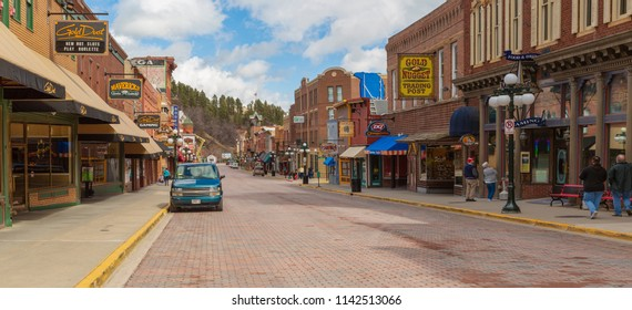 South Dakota, USA - 29 March 2017. Main street in Deadwood