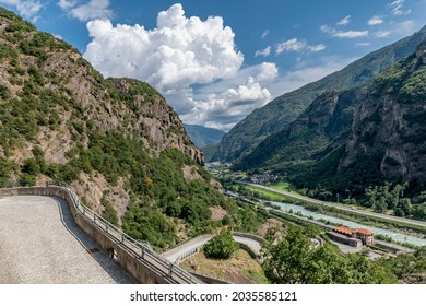 South east aerial view, from the top of Forte di Bard towards Donnas, Aosta Valley, Italy