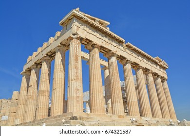 The South East corner of the Parthenon on the Athens Acropolis, Greece.