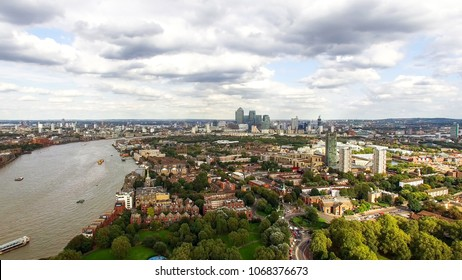 South East London Aerial City View around Canada Water, Surrey Quays feat. Suburban Neighborhood Rotherhithe, Bermondsey, Southwark Skyline