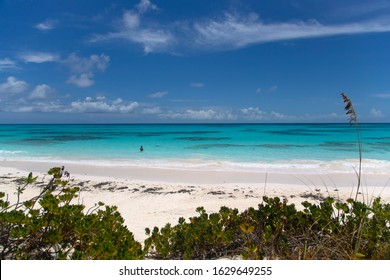 South Eleuthera island, Bahamas. August 08 2016:  Lighthouse beach, with its turquoise waters and white sand.