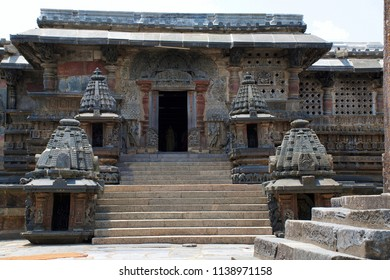 South entrance, Chennakesava temple, Belur, Karnataka. The minature shrines are woth noticing.