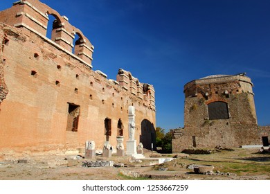 South Facade of Red Basilica -known as Temple Of Serapis- and newly restorated South Tower in Pergamon were built during the Roman Emperor Hadrianus, 2nd century AD.