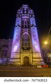 South Facade of Wills Memorial Building Bristol, Grand Neo-Gothic building by night, Mid View Long Exposure Night Photography