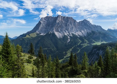 South face of the highest mountain of Germany Mt. Zugspitze.
