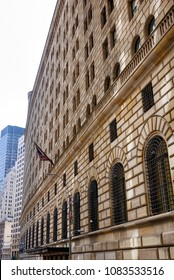 South facing facade of the Federal Reserve Bank of New York on Maiden Lane in downtown Manhattan