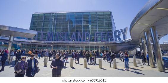 South Ferry Manhattan - the Staten Island Ferry Terminal- MANHATTAN / NEW YORK - APRIL 1, 2017