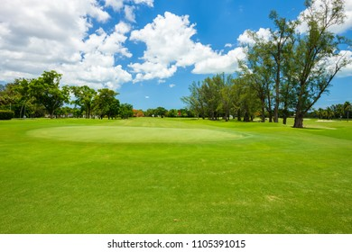 South Florida golf course landscape viewed from behind the putting green.