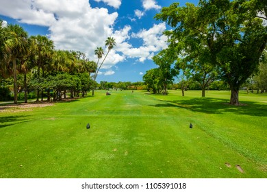 South Florida golf course landscape viewed from the tee box.
