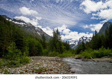 South Fork Sauk River Running Through the Cascade Range Near a Glacial Cirque