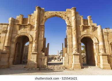 South gate of the Ancient Roman city of Gerasa, modern Jerash, Jordan