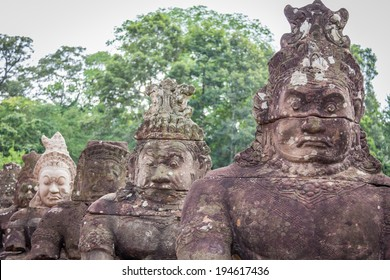 South gate to angkor thom in Cambodia