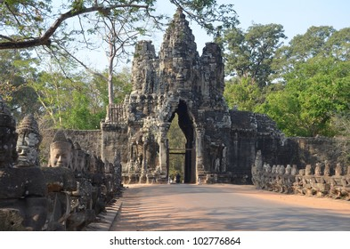 South Gate of Angkor Thom from outside the city. Angkor.