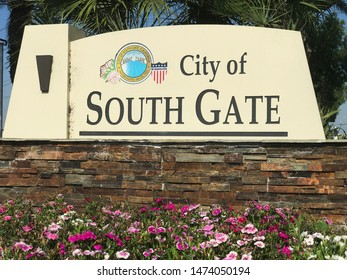 South Gate, California, USA. August 6, 2018. Sign when entering City of South Gate, Los Angeles