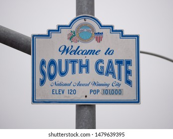 South Gate, California, USA. August 12, 2019. Sign when entering the city of South Gate in Los Angeles California