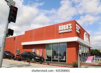 South Gate, California, USA - May 8, 2016: Bobo's Hamburgers, found in Southern California in 1975, is a family owned restaurant serving burgers, sandwiches and mexican food.