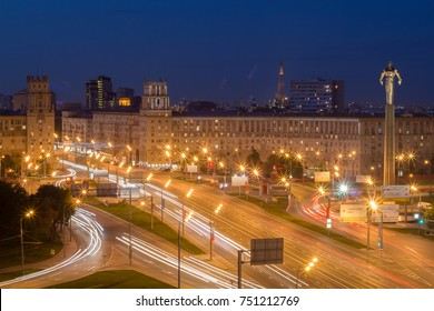 South gate and Stella monument to Gagarin (first spaceman) in Moscow, Russia at night