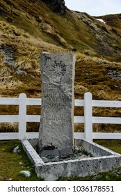 South Georgia, Grytviken Cemetery - 27 November 2015: Ernest Shackleton's grave. Sir Ernest Henry Shackleton was a polar explorer who led three British expeditions to the Antarctic.
