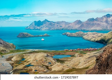 South Georgia Stromness bay high angle view - Shutterstock ID 1719037897